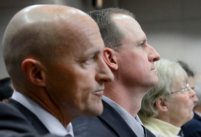 Attorney Patrick Mulligan, left, sits next to former Boulder Police officer Brent Curnow during the filing of charges on Thursday, Feb. 7, at the Boulder County Jail. Curnow and Sam Carter, not pictured, are being charged for the killing of a bull elk on Mapelton Avenue in Boulder. For more photos and video of the filing of charges go to www.dailycamera.com Jeremy Papasso/ Camera