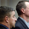 "Former Boulder Police officers Sam Carter, left, and Brent Curnow listen to the judge during the filing of charges on Thursday, Feb. 7, at the Boulder County Jail. Carter and Curnow, not pictured, are being charged for the killing of a bull elk on Mapelton Avenue in Boulder. For more photos and video of the filing of charges go to  <a href=""http://www.dailycamera.com"">http://www.dailycamera.com</a><br /> Jeremy Papasso/ Camera"