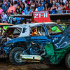 JAY YOUNG | THE GOSHEN NEWS<br /> Dave Hare waits for the flag to start the second heat of demolition derby Saturday evening at the Elkhart County 4-H Fair.