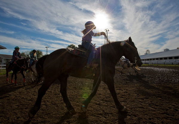 JAY YOUNG | THE GOSHEN NEWS<br /> A member of the 4-H Saddle Club warms up before competing in skill events Tuesday evening at the Elkhart County 4-H Fair.