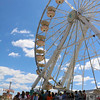 SHEILA SELMAN | THE GOSHEN NEWS<br /> The queue was long for people waiting to ride the Ferris wheel at the Elkhart County 4-H Fair Saturday.