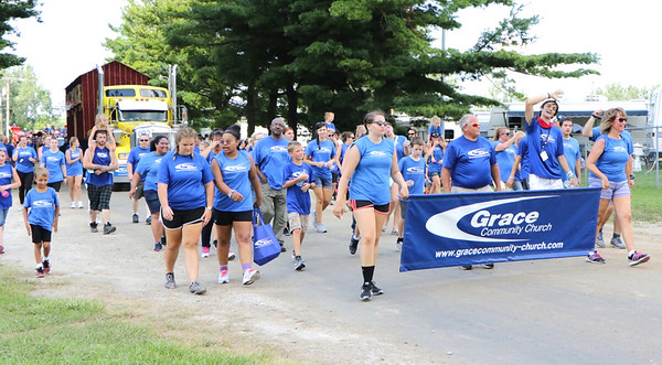 STACEY DIAMOND | THE GOSHEN NEWS<br /> Grace Community Church members march in the parade.
