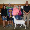JOHN KLINE | THE GOSHEN NEWS<br /> Grand Champion Goat Dairy Market winner Ashton Rice, third from left, shows of her winning goat with buyers and supporters, from left, Brenda Suter, dad Tim Rice, mom Roxie Rice and Chris Taylor, County Line Goats, during the Elkhart County 4-H Goat Auction Friday afternoon.