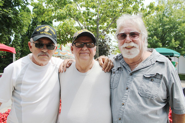 """""""We're brothers,"""" say Vietnam veterans, pictured here. From left are Jerry Sorn of Vandalia, MI, who served in the U.S. Marines in Vietnam from '66-'67; James Luce of Elkhart, who served in the U.S. Army in Vietnam from '70-'71; and Ron Maure of Elkhart, who served in the U.S. Army in Vietnam from '69-'71."""