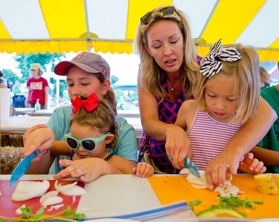JAY YOUNG | THE GOSHEN NEWS<br /> Izabelle Losee, 12, left, holds the knife steady for her cousin Adalyn Korenstra, 3, while Sarah Taylor helps her daughter Vivian, 6, all of Syracuse, as they chop onions during the Farm to Table cooking class for kids at the Elkhart County 4-H Fair Monday morning.