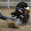 JAY YOUNG | THE GOSHEN NEWS<br /> Cord Barricklow, of Lebanon, wrestling a steer to the ground during the Friday afternoon rodeo at the Elkhart County 4-H Fair.