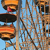JAY YOUNG | THE GOSHEN NEWS<br /> Four-year-old Morgan Nissley, of Middlebury, gets a view of the fair from above while riding the Ferris wheel Friday evening at the Elkhart County 4-H Fair.