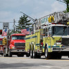 BEN MIKESELL | THE GOSHEN NEWS<br /> Fire engines from various fire departments drive down Lincoln Avenue during the 2018 4-H Fair Parade Sunday in downtown Goshen.