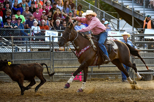 BEN MIKESELL | THE GOSHEN NEWS<br /> Ty Casey of Plymouth chases down a calf in the break away event Friday night at the Elkhart County 4-H Rodeo.