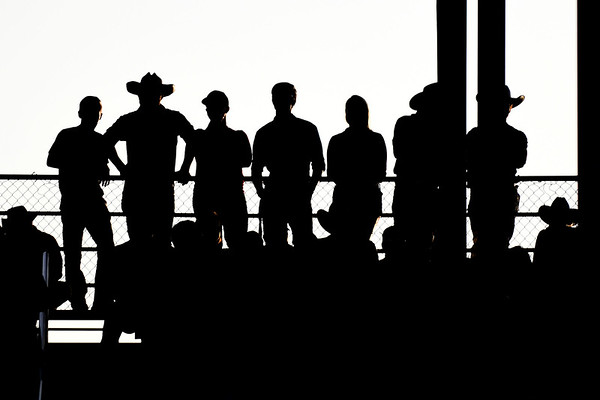 BEN MIKESELL | THE GOSHEN NEWS<br /> Fair-goers watch the rodeo Friday night from the top row of the grandstands at the Elkhart County 4-H Fair.