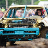 BEN MIKESELL | THE GOSHEN NEWS<br /> Ashley Warren, of New Paris, prepares to make a hit during Saturday night's demolition derby at the Elkhart County 4-H Fair.