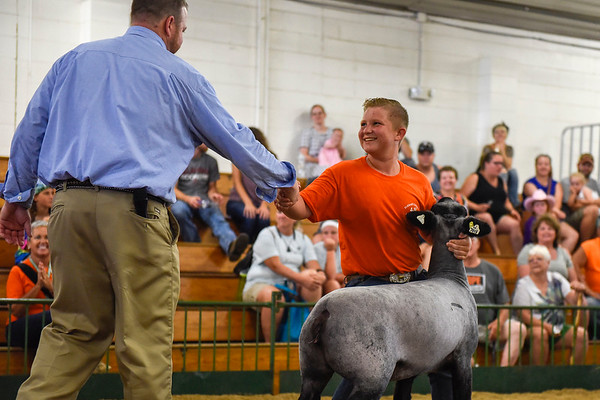 BEN MIKESELL | THE GOSHEN NEWS<br /> Darin Lehman, 13, of Topeka shakes hands with judge Joel Morrical of Clarion, Iowa, as he is awarded champion in the beginner sheep show Tuesday afternoon at the Elkhart County 4-H Fair.