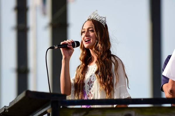 BEN MIKESELL | THE GOSHEN NEWS<br /> Fair queen Emily Yoder speaks to the crowd gathered in the grandstands before the Sarge & Son's Demolition Derby Saturday evening at the Elkhart County 4-H Fair.