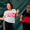 BEN MIKESELL | THE GOSHEN NEWS<br /> Amy Stebleton, owner and instructor of Inferno Studio in Elkhart, grooves on stage for National Dance Day celebrations Saturday at Heritage Park Stage.