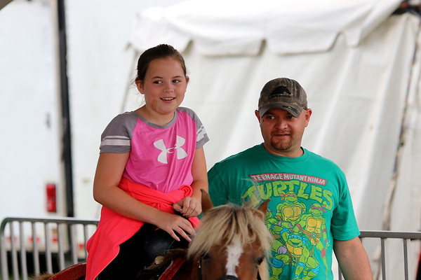 Lexi Adams, 9, and Adrian Adams, both of Goshen