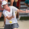 BEN MIKESELL | THE GOSHEN NEWS<br /> Amber Illingworth of Goshen sends a ball over the net during a pickleball tournament Tuesday at the Elkhart County 4-H Fair.