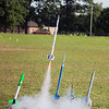 AIMEE AMBROSE | THE GOSHEN NEWS<br /> <br /> A rocket built by Eli Martin, 13, Goshen, blasts off from its mount during the annual rocket launch event at the Elkhart County 4-H Fair Saturday.