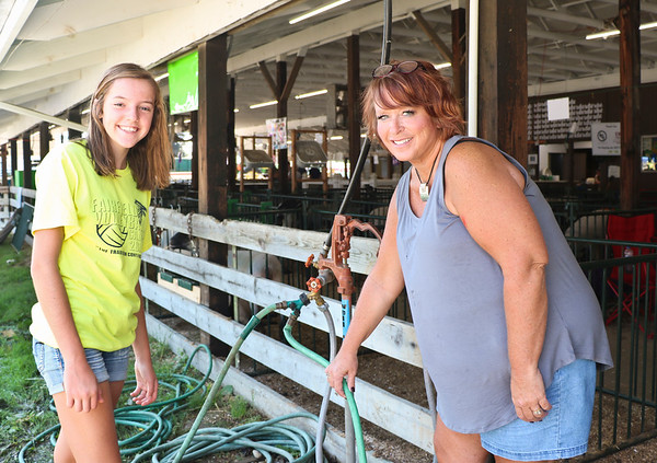 LEANDRA BEABOUT | THE GOSHEN NEWS<br /> Elyse Yoder, 13, and Karla Rayburn, both of Goshen
