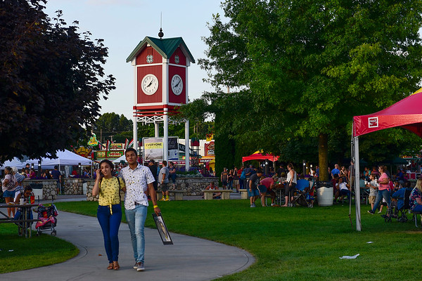 BEN MIKESELL | THE GOSHEN NEWS<br /> Heritage Park is packed with fair-goers Thursday evening at the Elkhart County 4-H Fair.