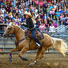 BEN MIKESELL | THE GOSHEN NEWS<br /> Alyssa Griffiths of Syracuse chases down a calf in the break away event Friday night at the Elkhart County 4-H Rodeo.