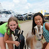 STACEY DIAMOND | THE GOSHEN NEWS<br /> Claire Bartley, 10, of Middlebury, poses with Zed and Kya Elias, 10, of Goshen poses with Sven.  Both goats are Claire's.