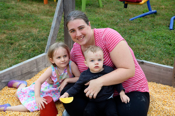 JOHN KLINE   THE GOSHEN NEWS<br /> Amber Myers with Veronica Myers, 4, and Caleb Myers, 16 months, all of Elkhart