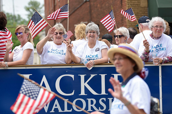 BEN MIKESELL | THE GOSHEN NEWS<br /> Supporters of U.S. Representative Jackie Walorski wave to the crowd during the 2018 4-H Fair Parade Sunday in downtown Goshen.