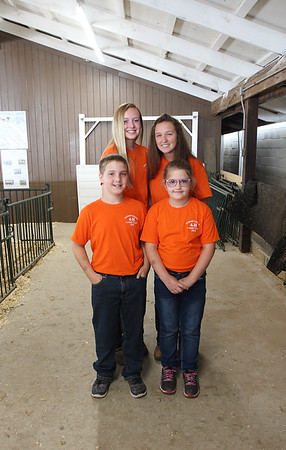 JULIE CROTHERS BEER | THE GOSHEN NEWS<br /> Front row: Trevor VanDaele, 11, of Goshen and Julie Metzler, 8, of New Paris. Back row: Megan Hochstetler, 15, Goshen, and Paige Simmons, 15, Syracuse