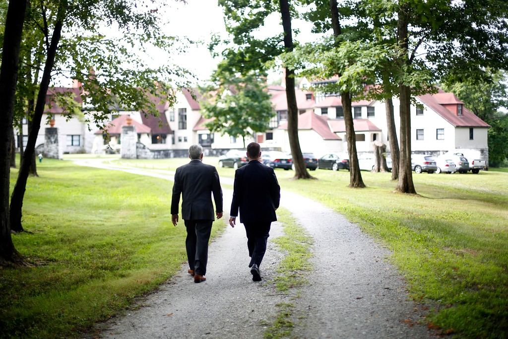 . Lawyers walk toward the Elm Court mansion during a property tour and survey of surrounding land by members of the Massachusetts Land Court. Eight neighbors of the property have filed suits against Front Yard, LLC, the developer for the proposed $50 million Travaasa Experiential Resort that is planned for the property on Old Stockbridge Road in Lenox. Tuesday, August 16, 2016. Stephanie Zollshan � The Berkshire Eagle | photos.berkshireeagle.com