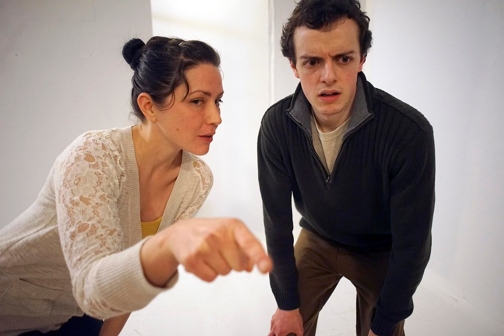 """. Actors Leah Marie Parker and Jerry Greene rehearse \"""" The Shape of Things\"""" at the Whitney Center for the Arts in Pittsfield, Tuesday, March 8, 2016. Ben Garver � The Berkshire Eagle   photos.berkshireeagle.com"""