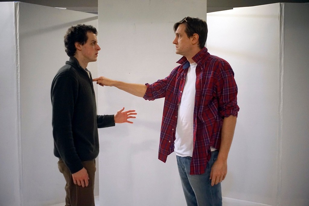 """. Actors Jerry Greene and Thomas Suski rehearse a scene in \"""" The Shape of THings\"""" at the Whitney Center for the Arts, Tuesday, March 9, 2016. Ben Garver � The Berkshire Eagle   photos.berkshireeagle.com"""