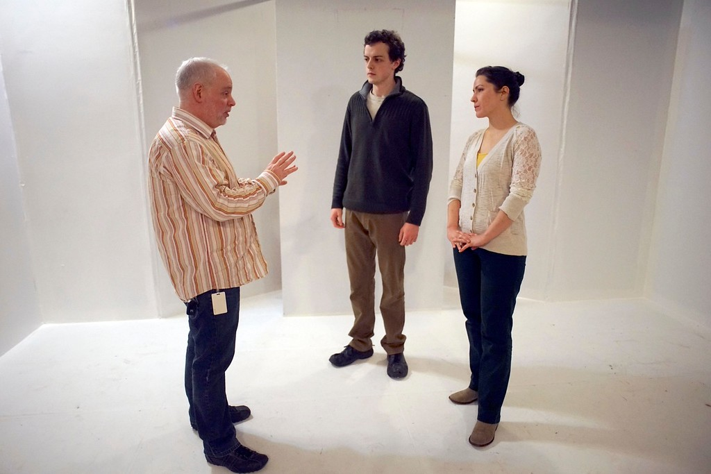 """. Director Matthew Teichner works on the set of \""""The Shape of Things,\"""" with actors Jerry Greene and Leah Marie Parker, Tuesday, March 9, 2016. Ben Garver � The Berkshire Eagle   photos.berkshireeagle.com"""