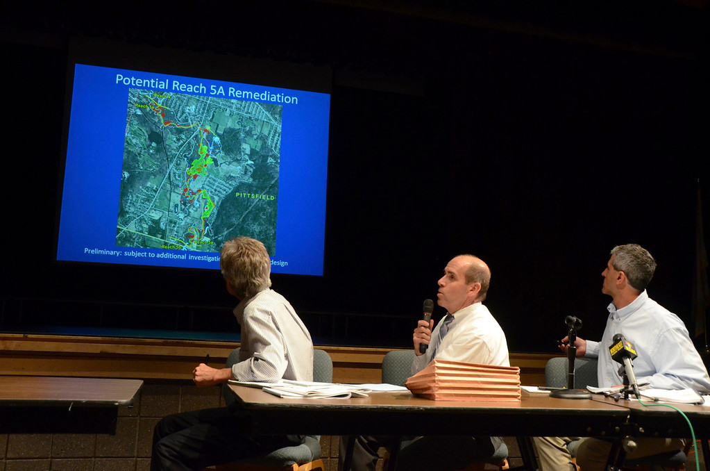 . Robert G. Cianciarulo, EPA Region 1 New England Chief of the Massachusetts Superfund Section answers a question during a presentation on PCB clean up of the Housatonic River at Lenox Memorial Middle and High School on East Street on Wednesday, June, 18, 2014. Gillian Jones / Berkshire Eagle Staff / photos.berkshireeagle.com