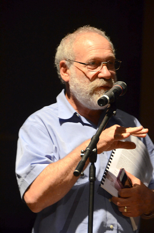 . Michael Kaplan asks a question following a presentation on PCB clean up of the Housatonic River at Lenox Memorial Middle and High School on East Street on Wednesday, June, 18, 2014. Gillian Jones / Berkshire Eagle Staff / photos.berkshireeagle.com