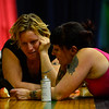 """KRISTOPHER RADDER - BRATTLEBORO REFORMER<br /> Aimee Hancock, director of the New England Center for Circus Arts' show, """"The Flying Nut 2016: Bratt in Bayou,"""" helps Erin Ball about her routine on Tuesday, Dec. 13, 2016."""