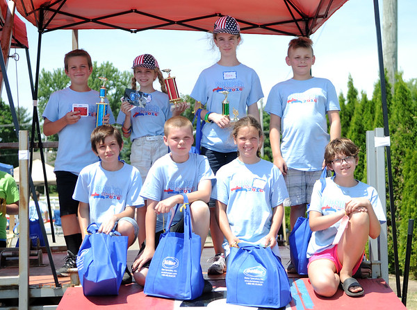 HALEY WARD | THE GOSHEN NEWS<br /> The top 8 of the Super Stock division during the Elkhart County Soap Box Derby on Saturday at the Elkhart County Fairgrounds.