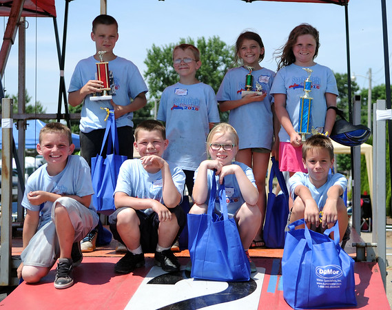 HALEY WARD | THE GOSHEN NEWS<br /> The top 8 of the Stock division during the Elkhart County Soap Box Derby on Saturday at the Elkhart County Fairgrounds.
