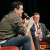 Roger Schneider | The Goshen News<br /> Actor Dean Cain talks Saturday about playing the role of Clark Kent in a TV series while Allen Stewart, sponsor of the first Elkhart Comic Con listens in the background.