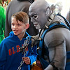 "Brian Sapp | The Goshen News<br /> Maguire Alderman, 11, left, poses with Michael ""Knightmare"" Wilson dressed as Panthro<br /> from the Thundercats."