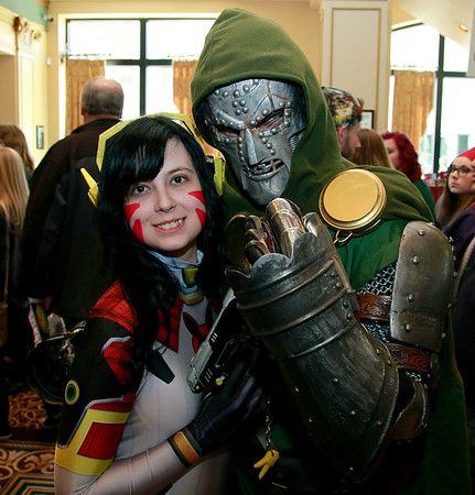 Brian Sapp | The Goshen News<br /> Heather Shoopman, dressed as D.Va from the video game Overwatch, and Colgan Showan, dressed as Dr. Doom of Marvel Comics, both from South Bend, strike a serious pose at the Hall of Heroes Comic Con.