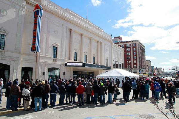 Brian Sapp | The Goshen News<br /> Hundreds of fans line up outside The Lerner Theatre waiting to attend the first Hall of<br /> Heroes Comic Con