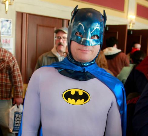 Brian Sapp | The Goshen News<br /> Dun Moon of Harbert, Michigan, poses in his classic Batman costume