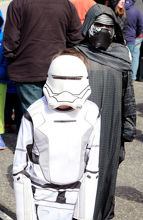 Brian Sapp | The Goshen News<br /> Aveary Green 8, front, dressed as an Imperial Storm Trooper and Dominic Ortiz, 9, dressed as Kylo Ren from Star Wars, show off their costumes.