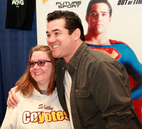 Brian Sapp | The Goshen News<br /> Anita Gordon of Walkerton gets her picture taken with actor Dean Cain. Gordon has<br /> been a fan of Cain since his role in Lois and Clark in the 1990s.