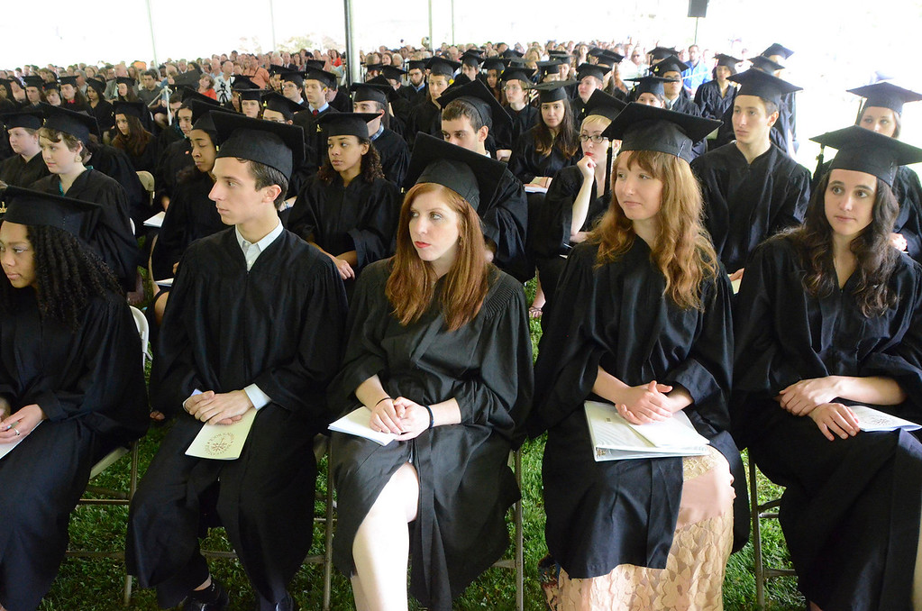 . Students listen to speeches during the 45th commencement exercises at Simon\'s Rock of Bard College on Monday, May, 26, 2014. Gillian Jones / Berkshire Eagle Staff / photos.berkshireeagle.com