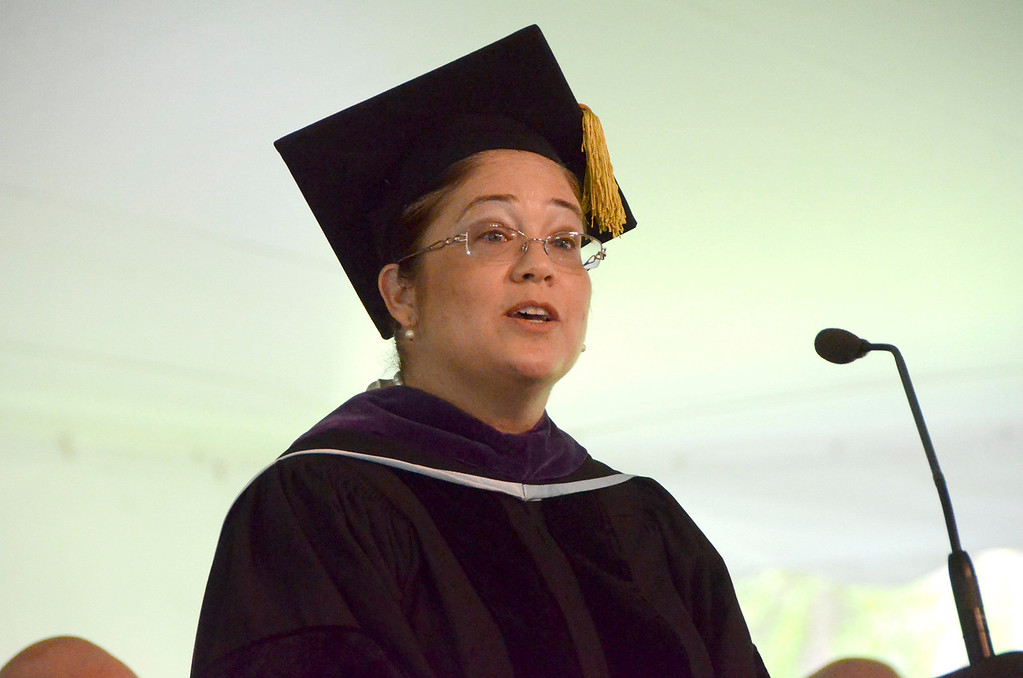 . Nina Perales, vice president of Litigation for MALDEF, the Mexican American Legal Defence and Educational Fund gives the commencement address at graduation exercises at Simon\'s Rock of Bard College on Monday, May, 26, 2014. Gillian Jones / Berkshire Eagle Staff / photos.berkshireeagle.com
