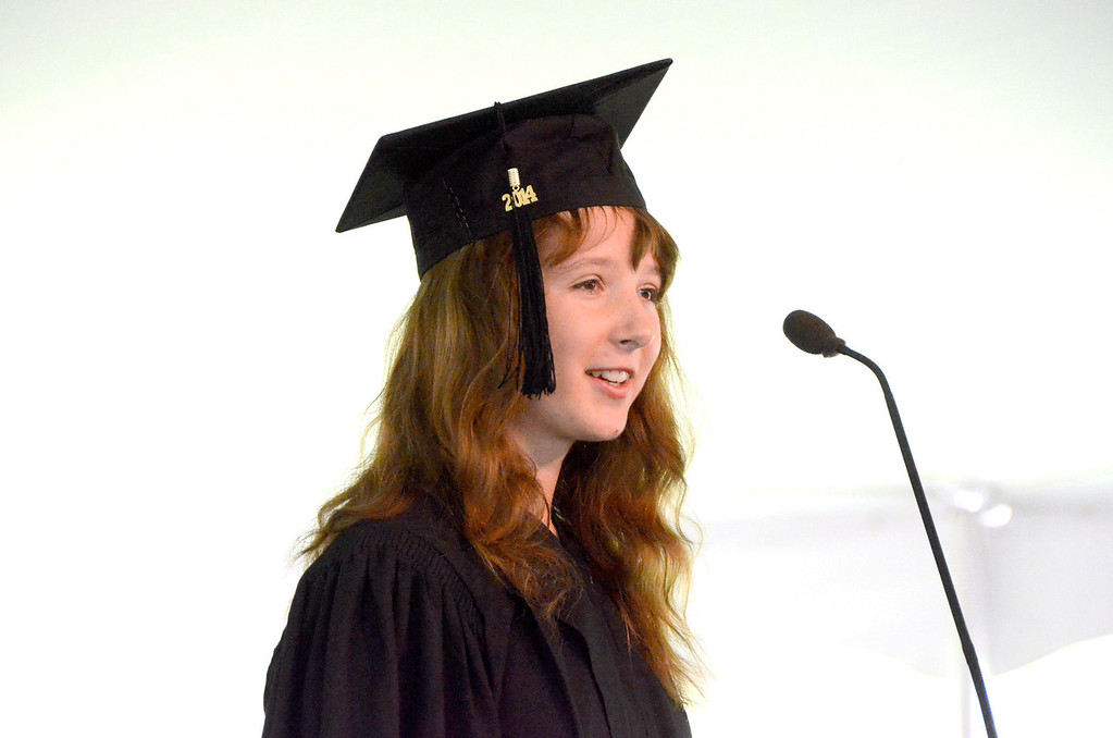 . Bachelor of Arts Degree Candidate Heather C. Meehan gives a speech at graduation exercises at Simon\'s Rock of Bard College on Monday, May, 26, 2014. Gillian Jones / Berkshire Eagle Staff / photos.berkshireeagle.com