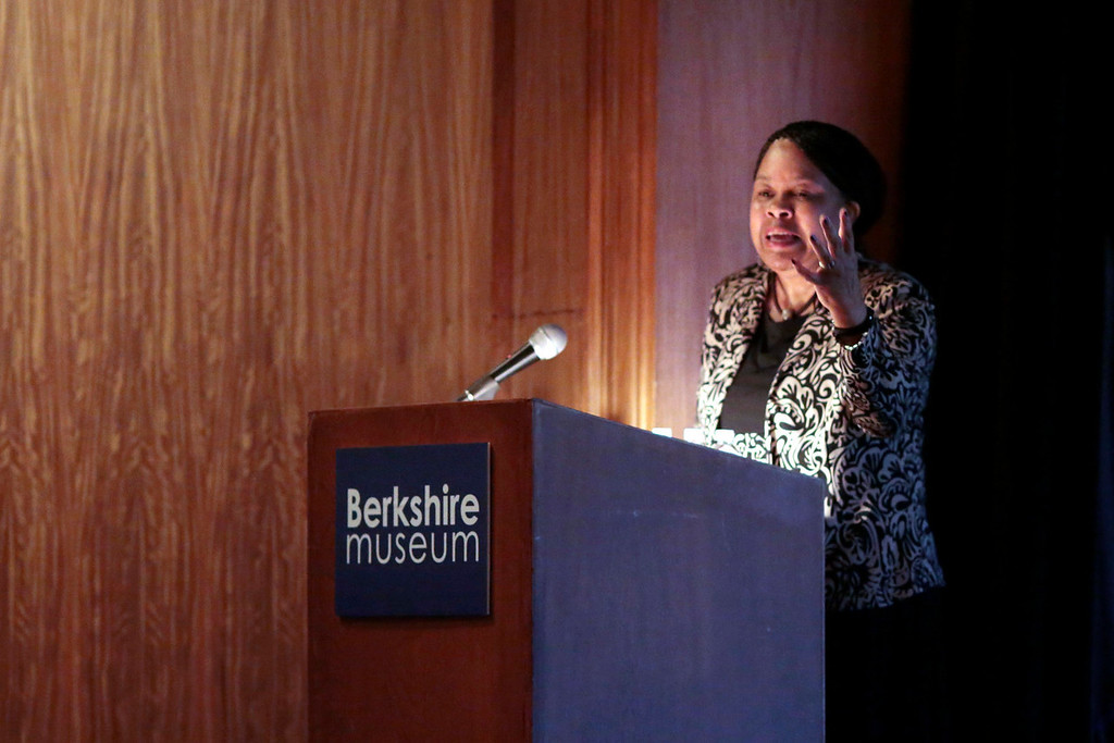 . Frances Jones-Sneed, Ph.D, speaks after being honored at the Berkshire Awards for making significant contributions to community culture and heritage at Berkshire Museum in Pittsfield. Friday, March 21, 2014. Stephanie Zollshan / Berkshire Eagle Staff / photos.berkshireeagle.com