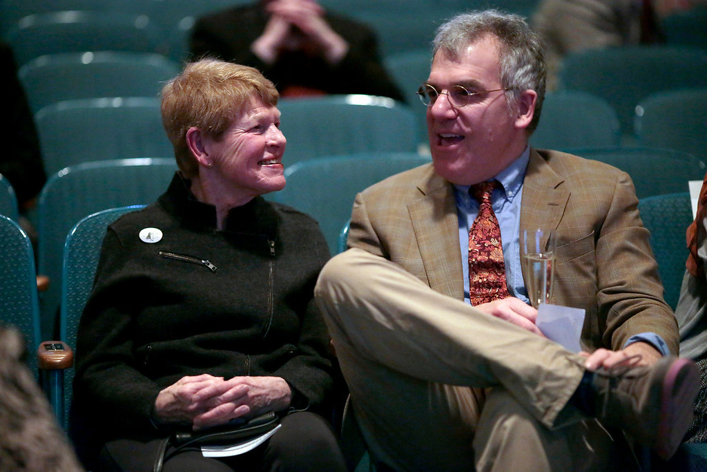 . Suzanne Nash and her son Mitch wait in the theater before their family is honored at the Berkshire Awards for making significant contributions to community culture and heritage at Berkshire Museum in Pittsfield. Friday, March 21, 2014. Stephanie Zollshan / Berkshire Eagle Staff / photos.berkshireeagle.com