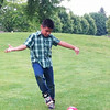 SHERRY VAN ARSDALL | THE GOSHEN NEWS<br /> Gustavo Udave plays soccer at Black Squirrel Golf Sunday, July 6, 2014.